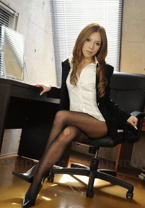 Teenage sexy far eastern office kitten shows underwear she is wearing at work
