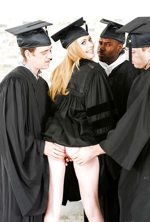 Valedictorian with pretty figure slowly strips while classmates get ready for sex