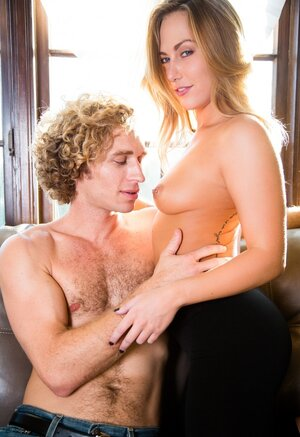 Comely beauty with perky titties shares sensual kisses with curly-haired familiar